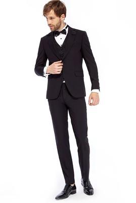 Erkek Giyim - Siyah 50 Beden Mono Yaka Smokin / Damatlık & Set