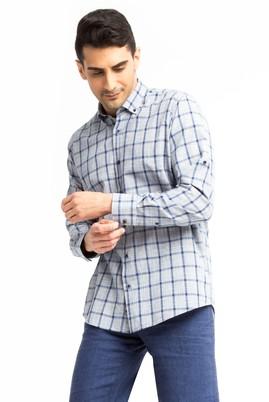 Erkek Giyim - Lacivert S Beden Uzun Kol Desenli Gömlek