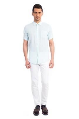 Erkek Giyim - Turkuaz M Beden Kısa Kol Spor Gömlek
