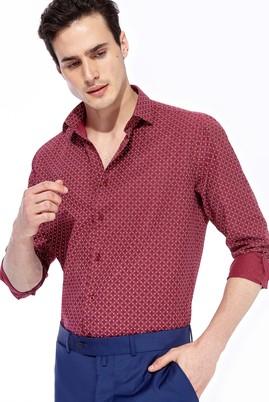 Erkek Giyim - Bordo XS Beden Uzun Kol Desenli Slim Fit Gömlek