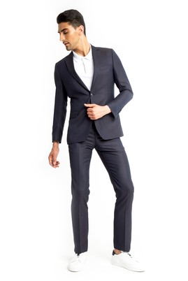 Erkek Giyim - Mor 50 Beden Desenli Takım Elbise