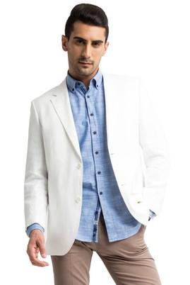 Erkek Giyim - Beyaz 48 Beden Keten Ceket