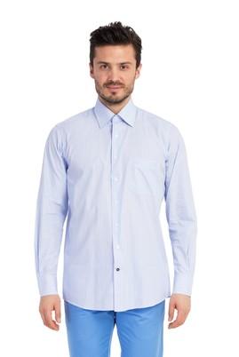 Erkek Giyim - Açık Mavi M Beden Uzun Kol Çizgili Gömlek