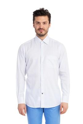 Erkek Giyim - Mavi L Beden Uzun Kol Çizgili Gömlek