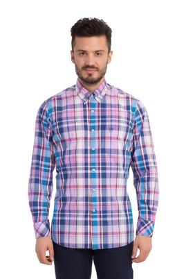 Erkek Giyim - Pembe S Beden Uzun Kol Ekose Gömlek