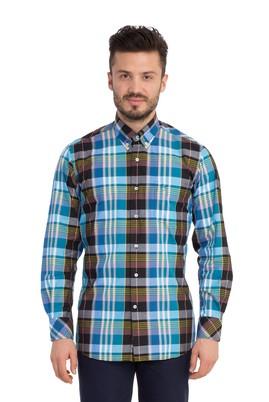 Erkek Giyim - Siyah S Beden Uzun Kol Desenli Gömlek