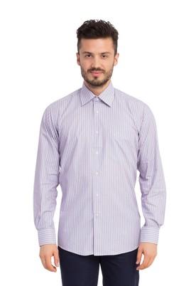 Erkek Giyim - Mor XL Beden Uzun Kol Çizgili Gömlek