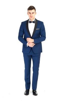 Erkek Giyim - Mavi 44 Beden Şal Yaka Slim Fit Smokin / Damatlık