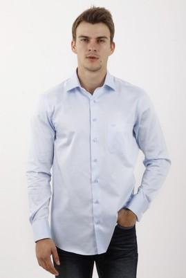 Erkek Giyim - Açık Mavi S Beden Uzun Kol Manşetli Klasik Saten Gömlek