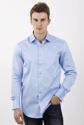 Erkek Giyim - Mavi M Beden Uzun Kol Manşetli Klasik Saten Gömlek