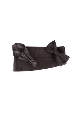 Erkek Giyim - Siyah STD Beden Desenli Papyon Takımı