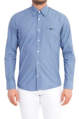 Erkek Giyim - Lacivert L Beden Uzun Kol Slim Fit Gömlek