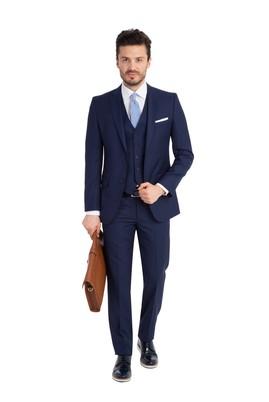Erkek Giyim - Mavi 46 Beden Slim Fit Yelekli Takım Elbise