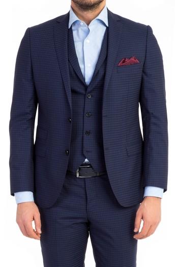 Erkek Giyim - Slim Fit Kareli Yelekli Takım Elbise