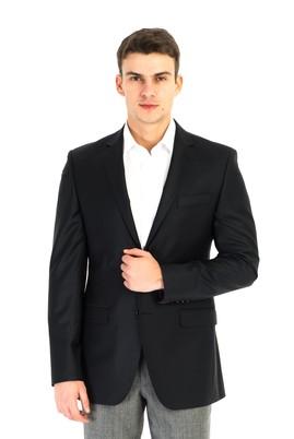 Erkek Giyim - Siyah 50 Beden Yünlü Blazer Ceket