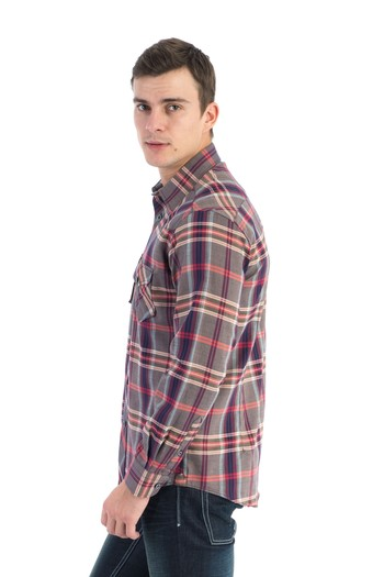 Erkek Giyim - Uzun Kol Slim Fit Denim Gömlek
