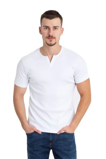 Erkek Giyim - Bisiklet Yaka Süper Slim Fit Tişört