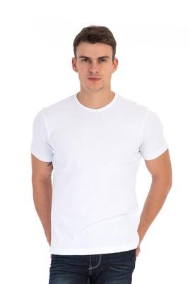 Erkek Giyim - Beyaz L Beden Bisiklet Yaka Süper Slim Fit Tişört