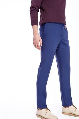 Erkek Giyim - Mavi 54 Beden Süper Slim Fit Yünlü Kuşgözü Pantolon