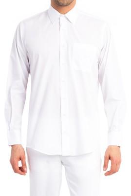 Erkek Giyim - Beyaz 4X Beden Uzun Kol Klasik Gömlek
