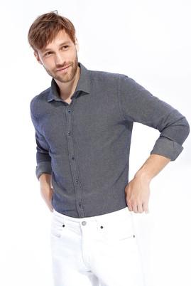Erkek Giyim - Lacivert S Beden Uzun Kol Desenli Slim Fit Gömlek