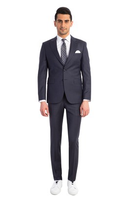 Erkek Giyim - Petrol 48 Beden Slim Fit Kareli Takım Elbise