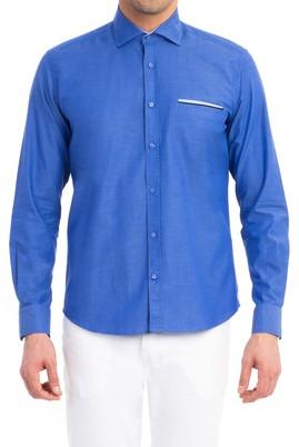 Erkek Giyim - Mavi XL Beden Uzun Kol Slim Fit Oxford Gömlek