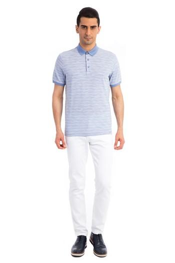Erkek Giyim - Denim Yaka Çizgili Süprem Tişört