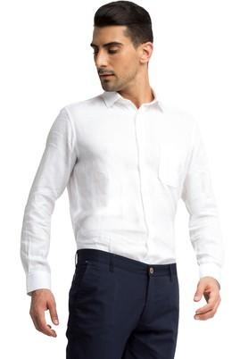 Erkek Giyim - Beyaz XXL Beden Uzun Kol Keten Gömlek