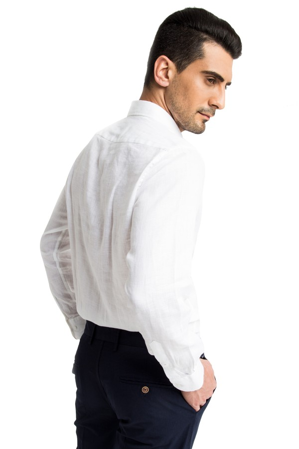 Uzun Kol Keten Gömlek