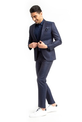 Erkek Giyim - KOYU MAVİ 48 Beden Slim Fit Kareli Takım Elbise