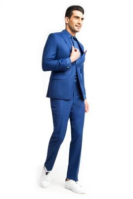 Erkek Giyim - Mavi 54 Beden Kuşgözü Takım Elbise