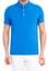 Mavi  Yarım İtalyan Yaka Slim Fit Tişört