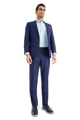 Erkek Giyim - Mavi 48 Beden Desenli Takım Elbise