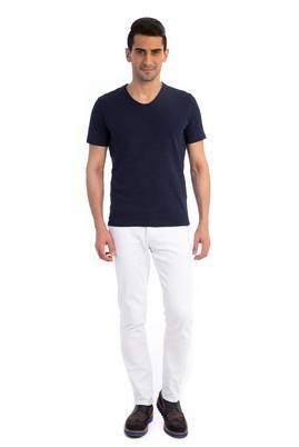 Erkek Giyim - Lacivert 3X Beden V Yaka Slim Fit Tişört