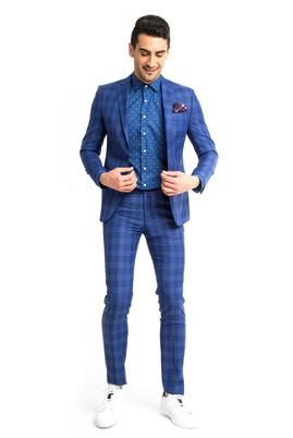 Erkek Giyim - Mavi 46 Beden Ekose Takım Elbise