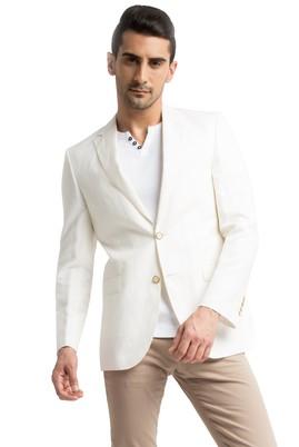 Erkek Giyim - Krem 46 Beden Keten Ceket