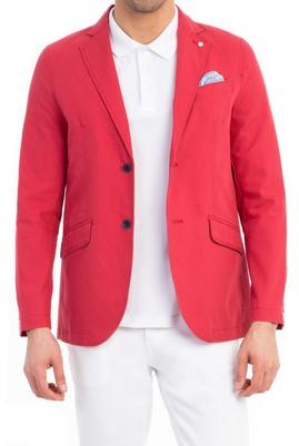 Erkek Giyim - Kırmızı 48 Beden Astarsız Oxford Ceket