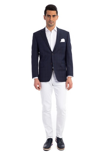 Erkek Giyim - Yün Ekose Ceket