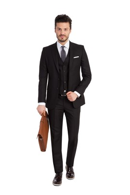Erkek Giyim - Siyah 48 Beden Slim Fit Yelekli Takım Elbise