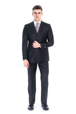 Erkek Giyim - Siyah 46 Beden Kruvaze Takım Elbise