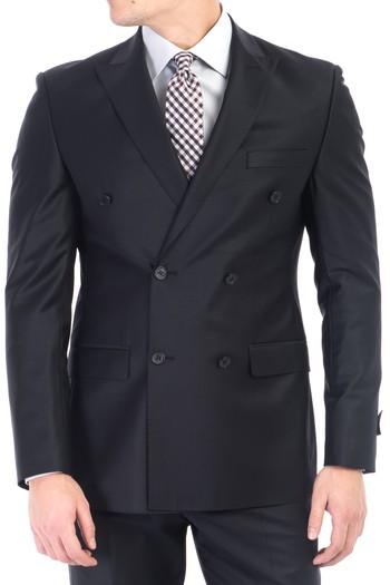 Erkek Giyim - Kruvaze Yünlü Takım Elbise