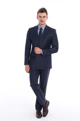 Erkek Giyim - Lacivert 48 Beden Kruvaze Takım Elbise