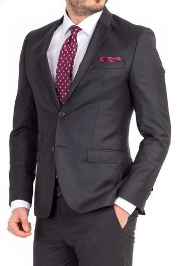 Erkek Giyim - Süper Slim Fit Kuşgözü Takım Elbise
