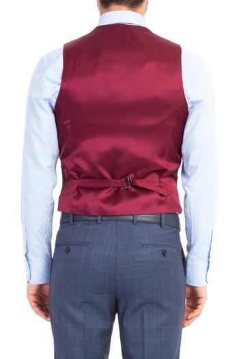 Erkek Giyim - Süper Slim Fit Yelekli Ekose Takım Elbise
