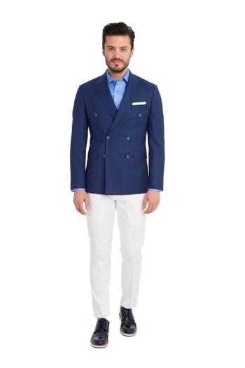 Erkek Giyim - Slim Fit Kruvaze Blazer Ceket
