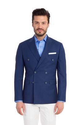 Erkek Giyim - Mavi 52 Beden Slim Fit Yün Kruvaze Blazer Ceket