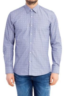 Erkek Giyim - Lacivert XL Beden Uzun Kol Desenli Slim Fit Gömlek
