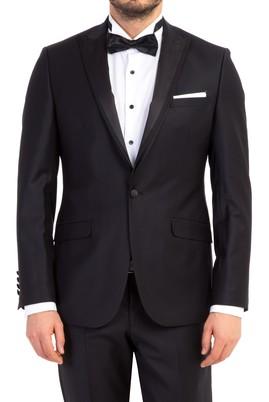Erkek Giyim - Siyah 48 Beden Slim Fit Sivri Yaka Smokin / Damatlık