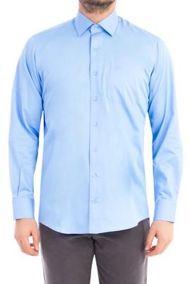 Erkek Giyim - Mavi XXL Beden Uzun Kol Saten Gömlek